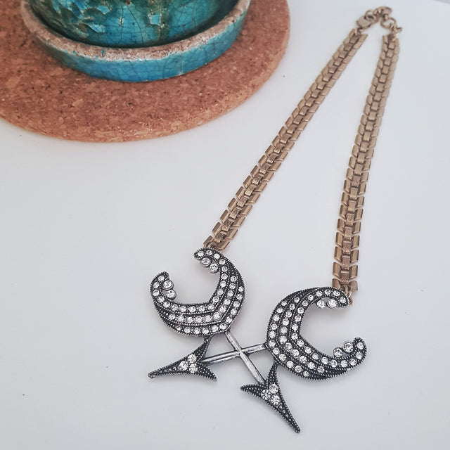 Chunky silver arrow gold statement necklace-Necklaces-Chubby Precious Accessories