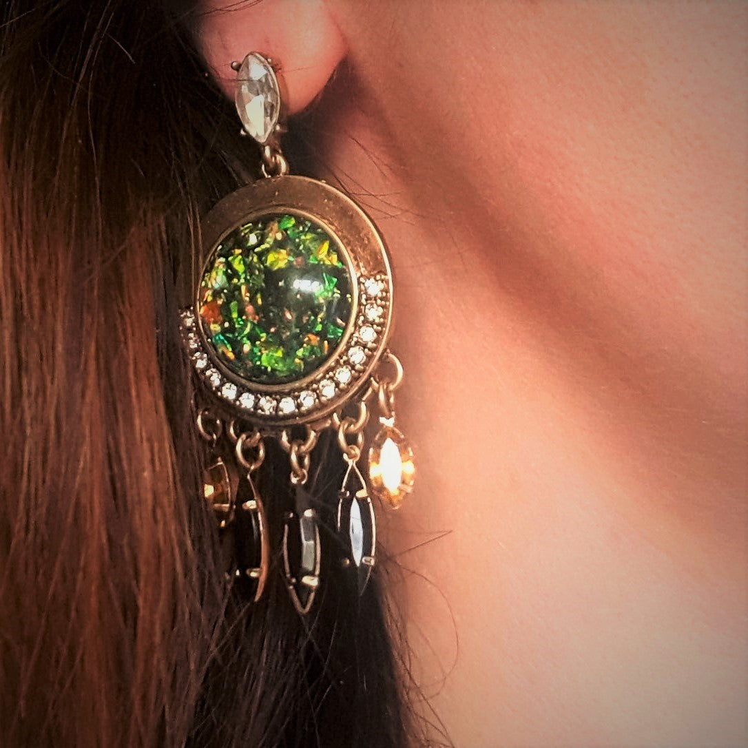 Green mermaid gold dangle earrings - Chubby Precious Accessories