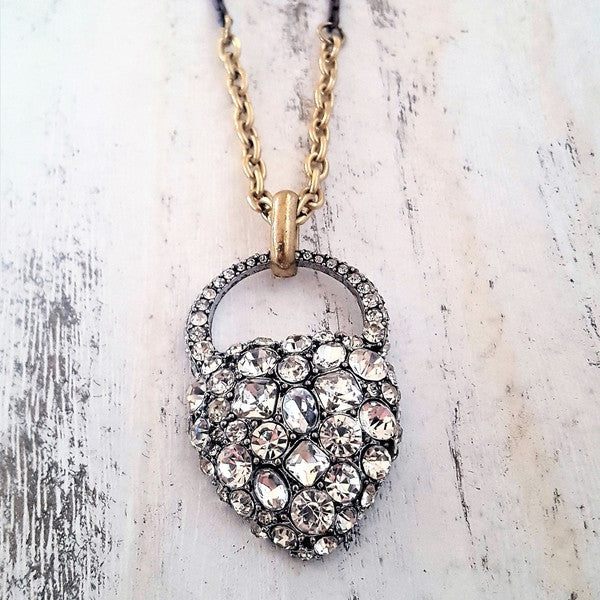 Love heart pave setting crystal necklace-Necklaces-Chubby Precious Accessories