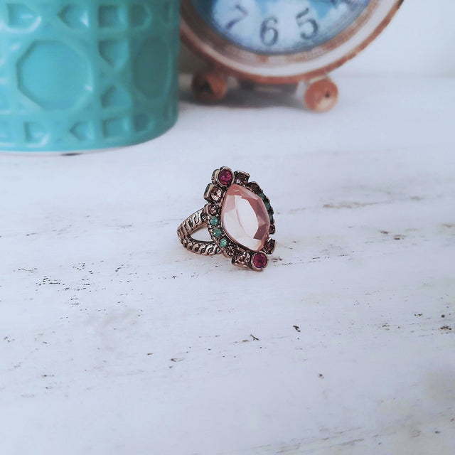 Chunky pink gem gold cocktail ring-Rings-Chubby Precious Accessories
