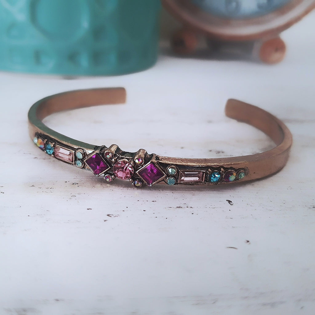 Gorgeous gold with pink and green detail bangle-Bracelets/bangles-Chubby Precious Accessories