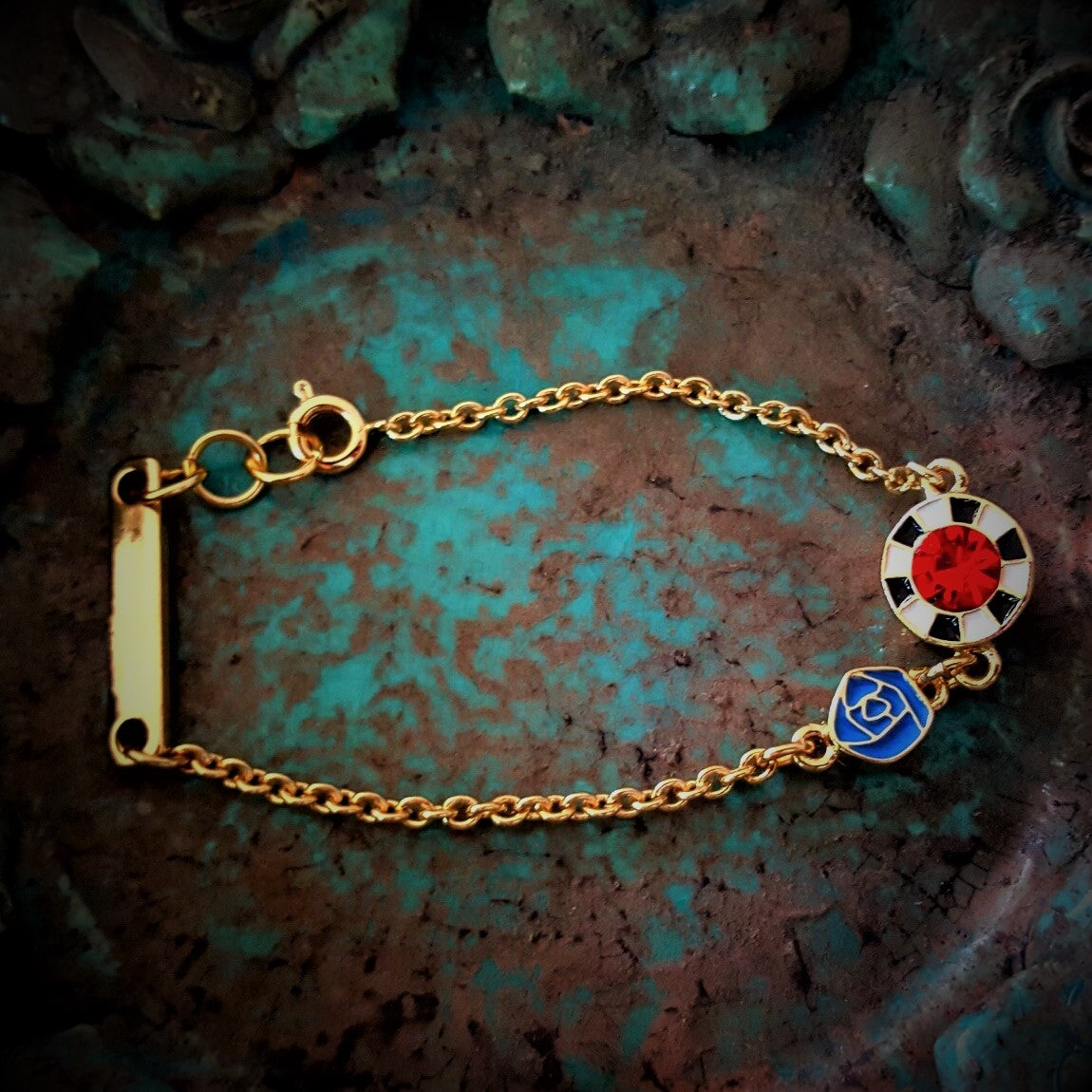 Two side gold rose charm bracelet-Bracelets/bangles-Chubby Precious Accessories