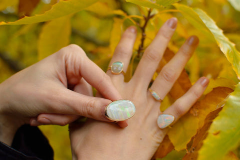 autmn leave opal rings