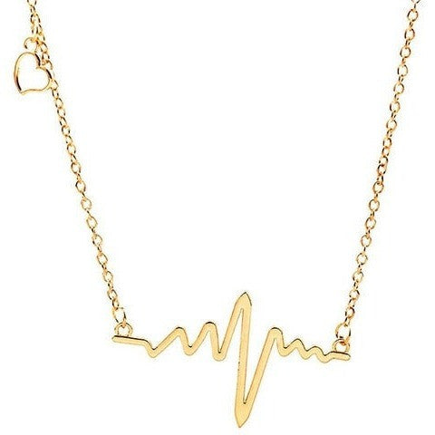 ECG Heartbeat Rhythm with Dangling Heart Necklace
