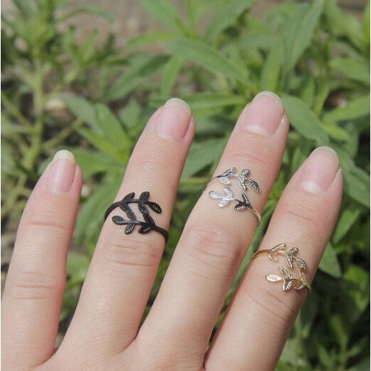 3 Piece Gold Plated Leaf Rings