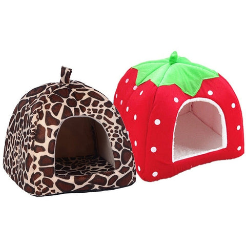 Soft Strawberry Dog & Cat Bed House