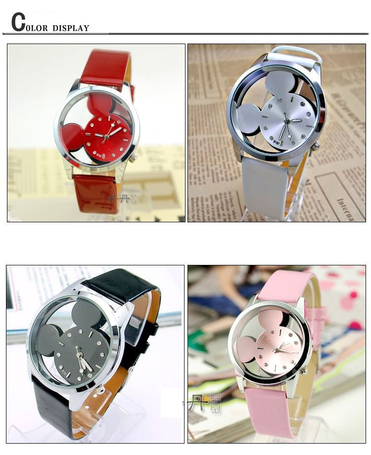 Classic Mickey MouseTransparent Dial Leather Strap Women Watch