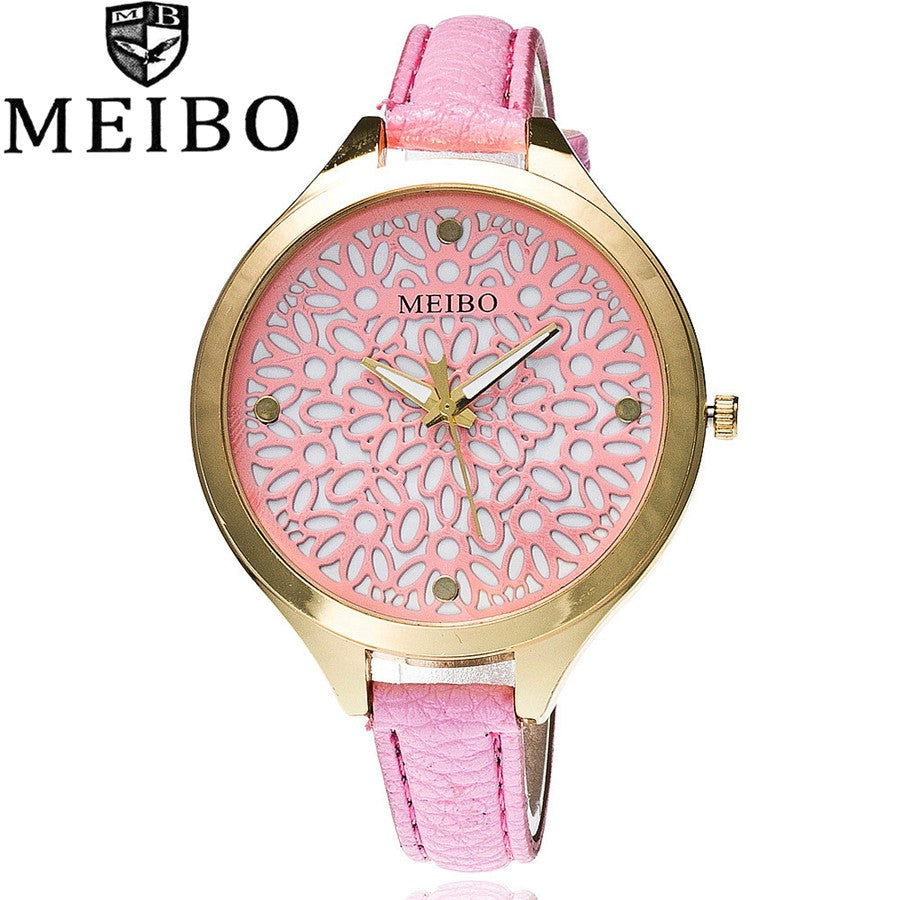 Luxury  Flower Print Dial Leather Strap Womens Watch