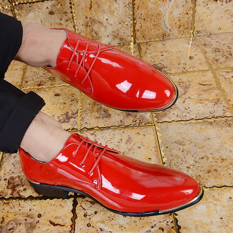 Men Patent Leather Casual Pointed Shoes