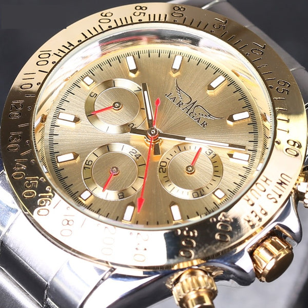 Automatic Gold Dial Chronograph Mens Watch