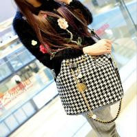 Houndstooth  Bucket Ladies Handbag