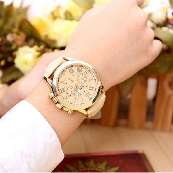 Big Dial Leather Strap Womens Watch