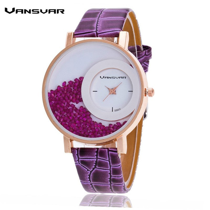 Unique Dial Leather Strap Womens  Wrist Watch