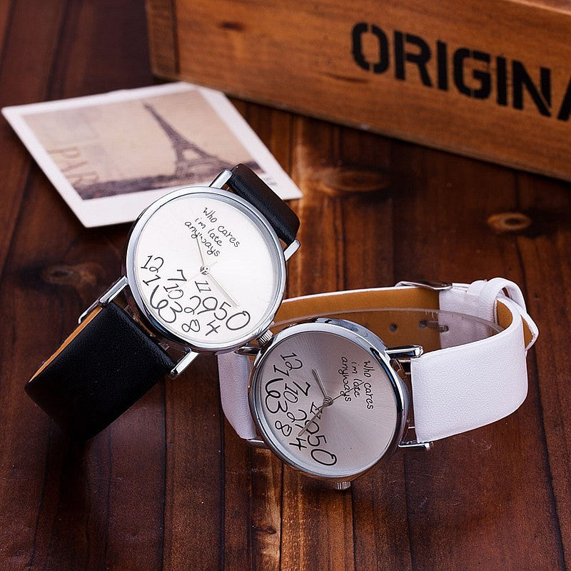Leather Strap Stylish Dial Womens Watch