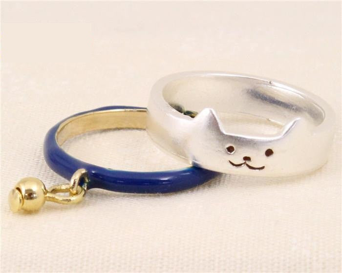 Gold Silver Alloy Lovely Cat Enamel  Midi Finger Rings Sets For Catty Women