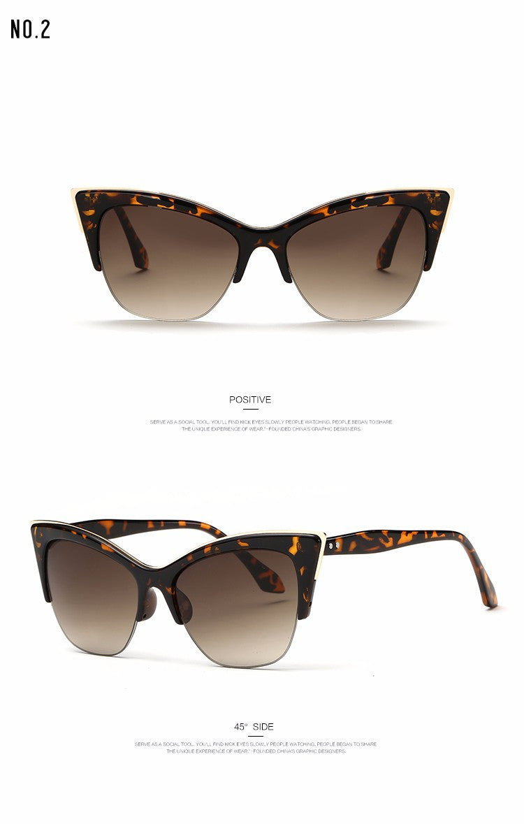 Half Frame Cat Eye Sunglasses