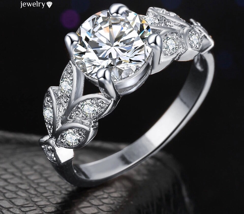 Beautiful American Diamond Silver Ring , Handcrafted!!