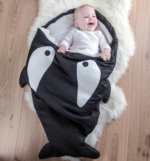 New shark baby sleeping bag , quilted winter purpose swaddle blanket wrap for babies