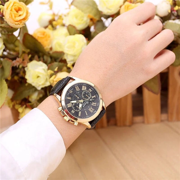 Beautiful Dial Leather Strap Watch Unisex ...