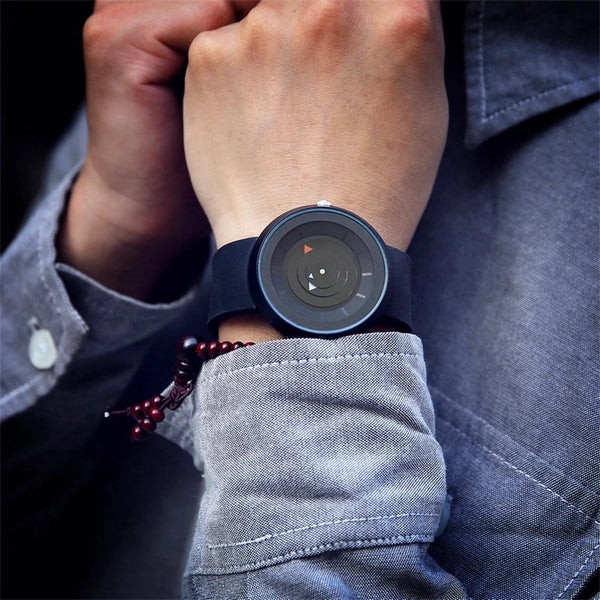 Eccentric dial Black unisex silicon strap watch .