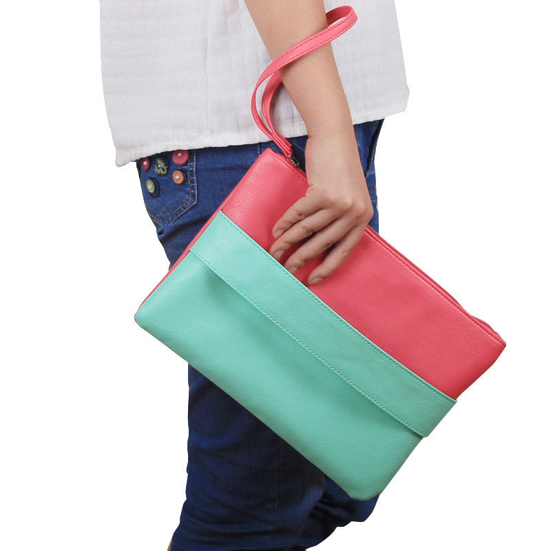 Candy Color  Leather  Women  Bag  Day Clutches Handbag