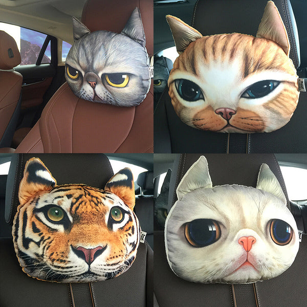 Car seat head cushion headrest car seat cushion Cat Dog and Tiger  print