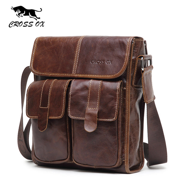 New Arrival Men's Shoulder Bag Satchel Genuine  Leather Messenger Bags For Men Rugged