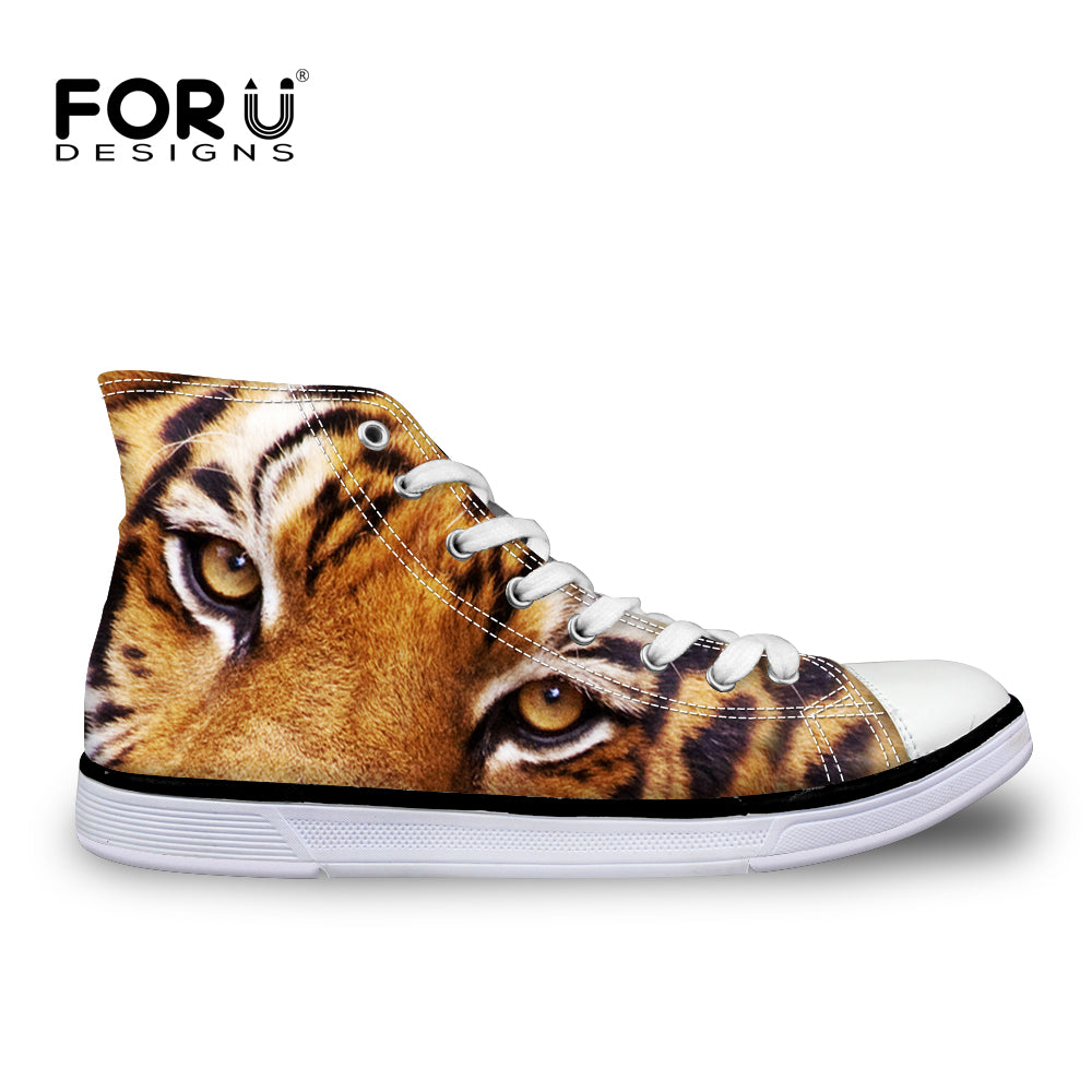 FORUDESIGNS Men Casual Shoes Fashion Male 3D Animal Tiger Printing High-Top Vulcanize Shoe Lace-Up Flat Man Classic Canvas Shoes