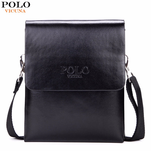 POLO  Solid Double Pocket Soft Leather Men Messenger Bag Small 2 Layer Mens Travel Bag Mens Bag For Phone