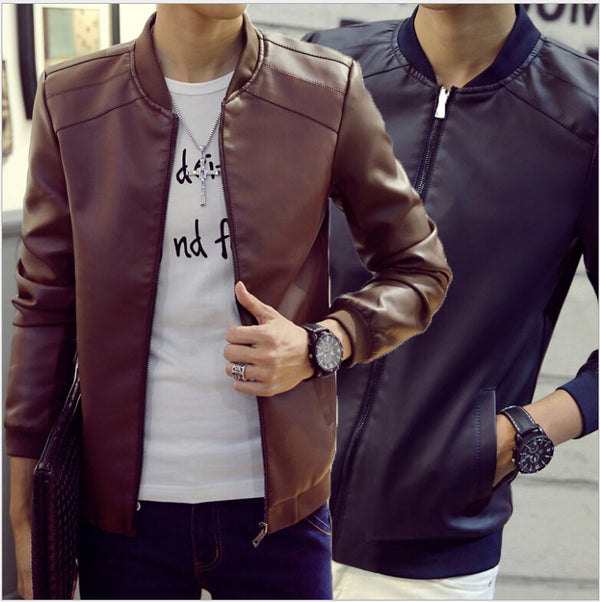 Faux Fur Coats Trendy Slim Fit Youth Motorcycle Suede Jacket Male