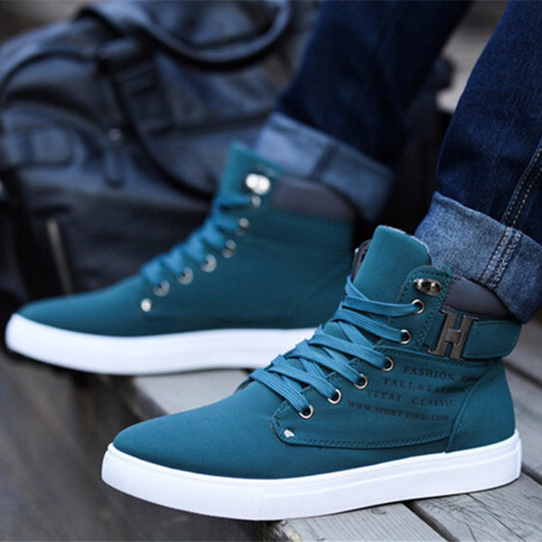 Ankle Flat Heel Men's Canvas Shoes