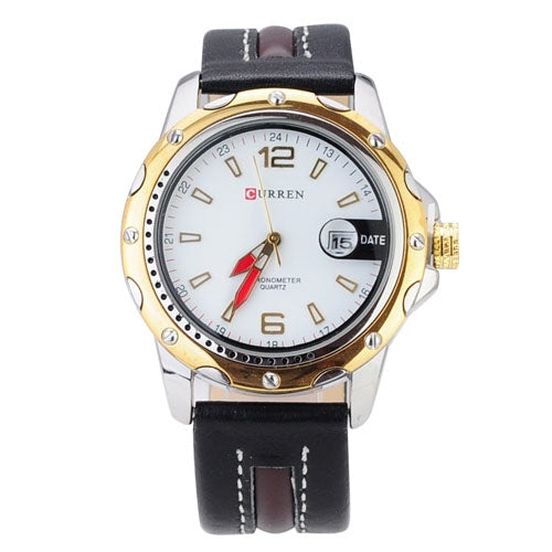 BLACK BROWN LEATHER STRAPS MENS QUARTZ WATERPROOF WRISTWATCH