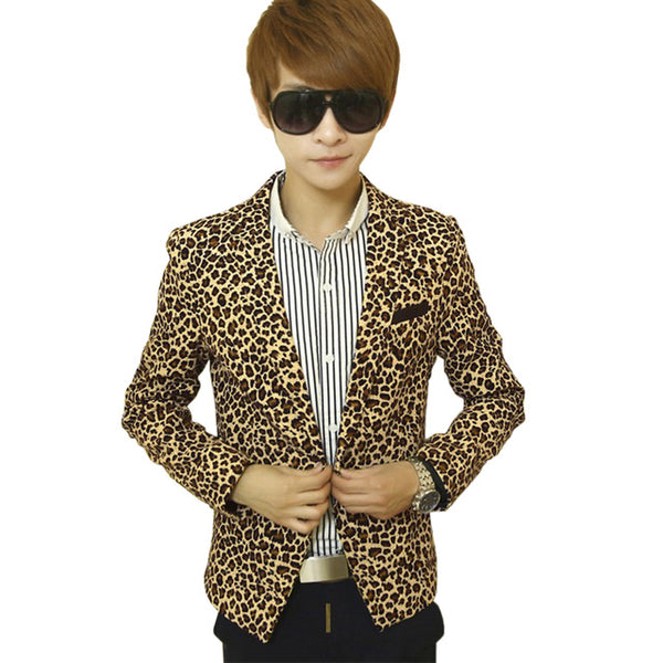 Mens Slim Fit Leopard Print Blazer