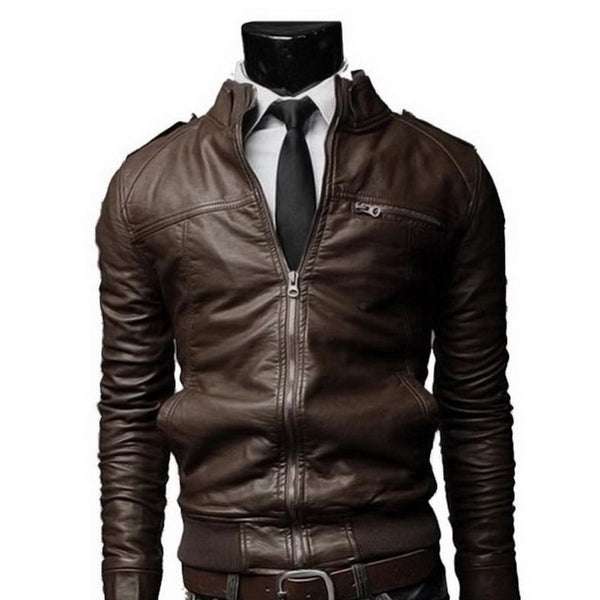 PU Leather Long Standing Collar Mens Leather Jacket