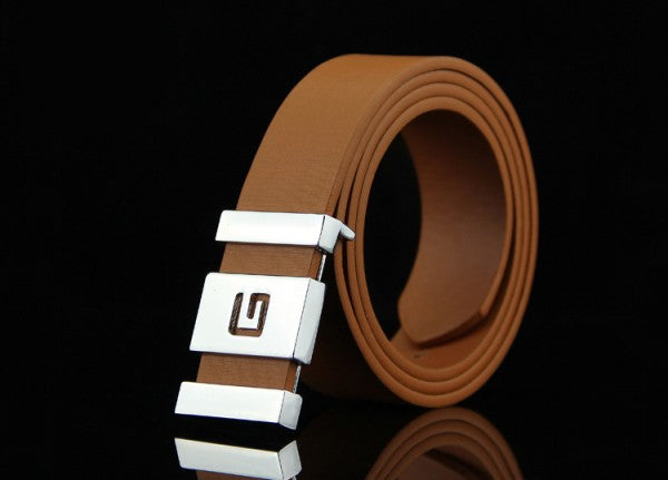 Men's Alphabet Smooth Buckle White Belts