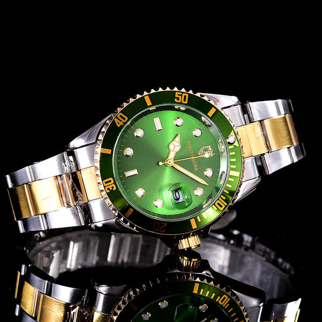 Luxury Fashion Mens Watches Quartz Steel  Top Brand Green Wrist Watch For Men.