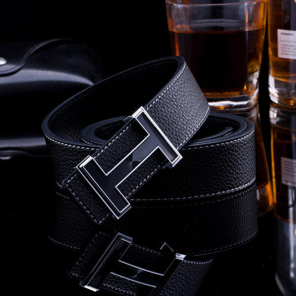 Real Leather H Buckle Belt