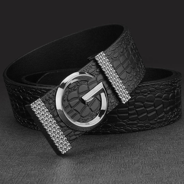 K Smooth button buckle metals G belts mens Leisure Waistband man genuine leather Casual hombre Waist Strap fashion sash