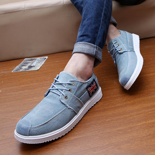Men shoes low canvas fashion trend casual breathable shoes denim shoes lace up vintage British designer-shoe moccasin
