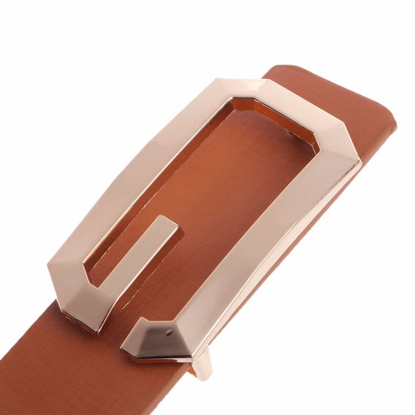 Men Faux Leather Smooth Buckle  Belt