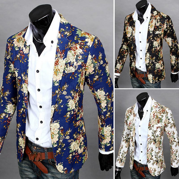 Elegant Printing Slim Fitting Blazer Slim Party Blazer