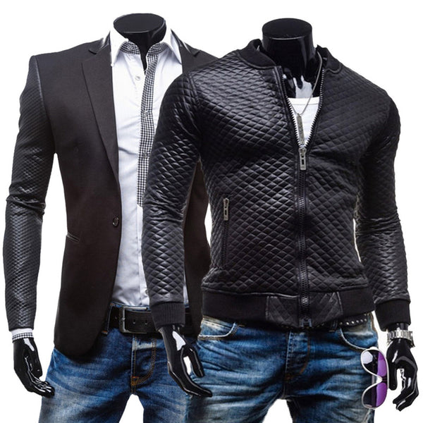 Mens Overcoat Faux Formal Leather Blazer