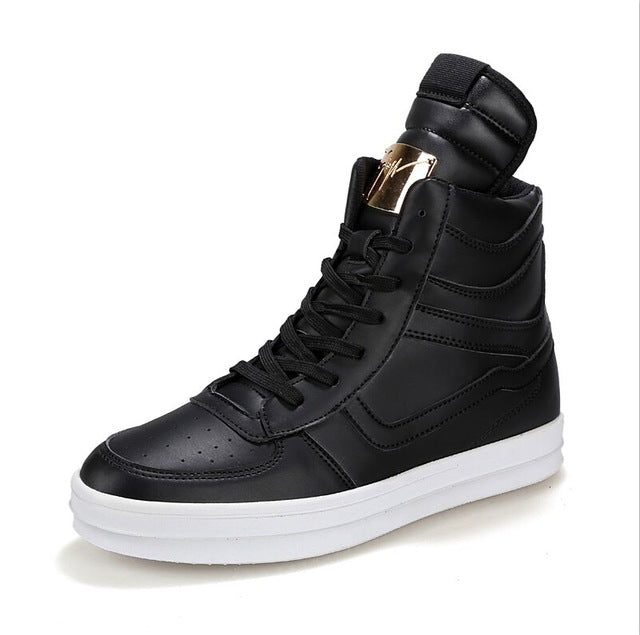 Spring Fashion Men Casual Shoes Hip Hop Leather High-top Outdoor Shoes