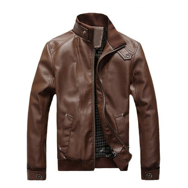 Stand Collar Faux Leather Mens Jacket
