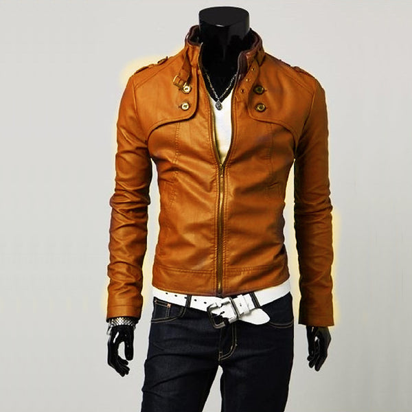 Waterproof  Jacket Men black Brown PU faux Leather