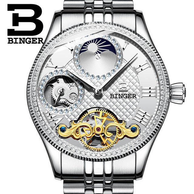 Moon Phase Automatic Wristwatches BINGER Men Mechanical Watch Tourbillon Clock  relogio masculino mens watches top brand luxury