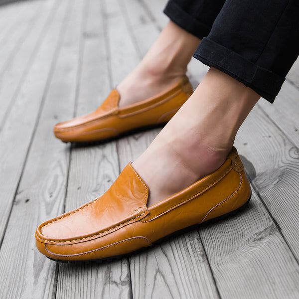Genuine Leather Luxury Hollow Flat Mens Loafer