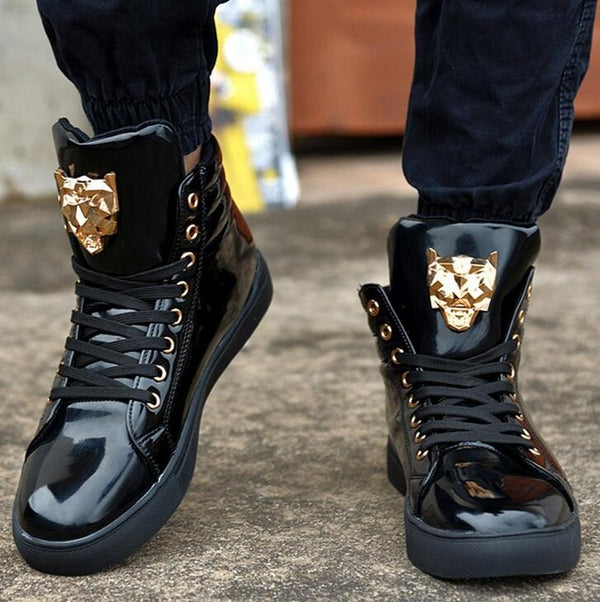High Top PU Leather Casual Laces Mens Shoe