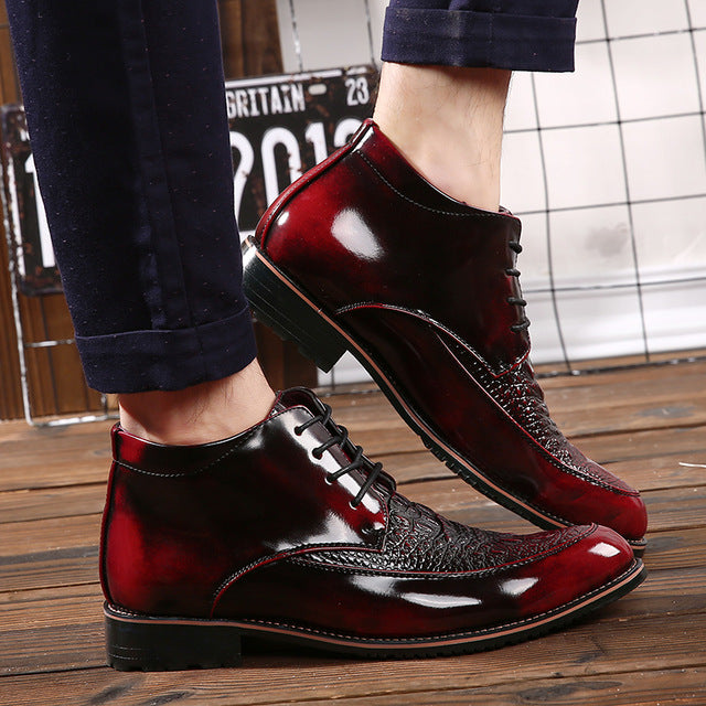 Glossy Retro Italian Top Sider Flat Leather Mens Shoe