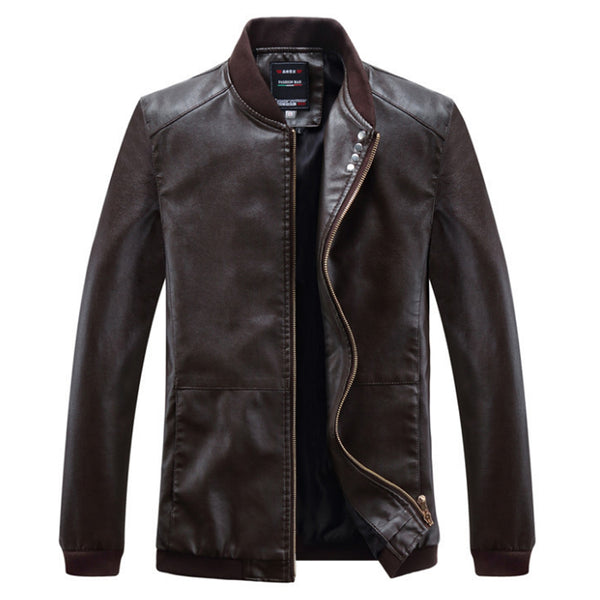Leather Jacket Men Slim Fit Windbreaker